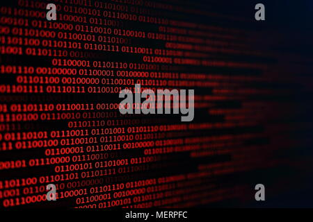 red binary code background. computer problems concept. black background. malware virus data transfer. - Stock Photo