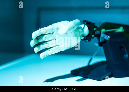 Augmented reality for industry concept. Robotic and Automation system control application on automate robot arm in smart manufacturing background. - Stock Photo