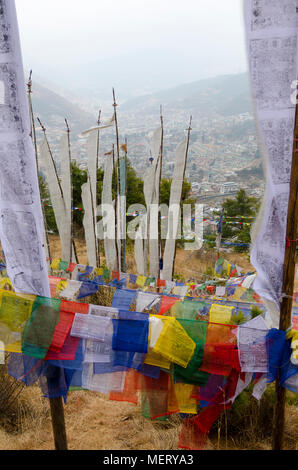 Prayer Flags above city, Thimphu, Bhutan - Stock Photo