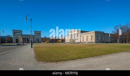 Königsplatz with Glyptothek and Propyläen, Munich, Bavaria, Germany - Stock Photo