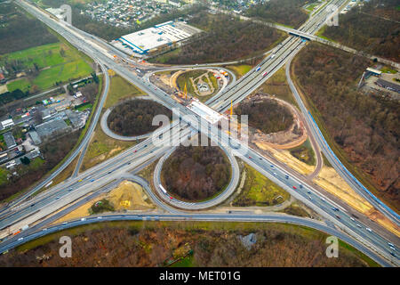 Reconstruction of motorway intersection Recklinghausen, Kleeblatt-Form, motorway A43 and A2, Recklinghausen, Ruhr area - Stock Photo