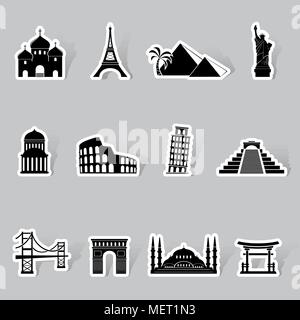 Landmarks stickers. World famous buildings abstract silhouettes - Stock Photo