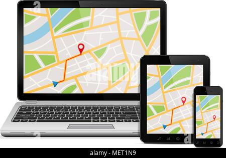 Navigation Concept. Digital devices with gps navigation map - Stock Photo