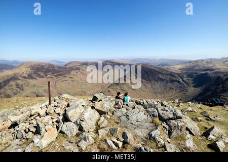 The Summit of High Crag with The View Towards Robinson, Hindscarth, Fleetwith Pike and Dale Head on a Hot Sunny Day, Lake District, Cumbria, UK