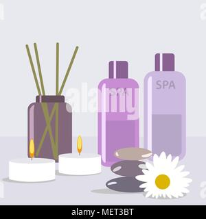 Aroma therapy set. A collection of home fragrances aroma candle, sticks and oil flat editable vector illustration, clip art - Stock Photo