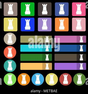 Chess Rook icon sign. Set from twenty seven multicolored flat buttons. Vector illustration - Stock Photo