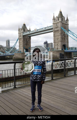 London,UK,23RD April 2018,London Marathon Elite winners photocall took place by Tower Bridge with Mary Keitany (KEN).Credit Keith Larby/Alamy Live News - Stock Photo