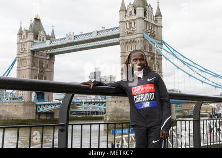 London, 23rd April 2018. The elite women's race winner, Vivian Cheruiyot  (Kenya, 02:18:31)poses at the Virgin London Marathon 2018 champions photocall.  Cheruiyot is a track and cross-country running specialist who made her London Marathon debut in 2017 Credit: Imageplotter News and Sports/Alamy Live News - Stock Photo