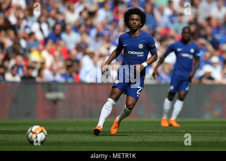 London, UK. 22nd Apr, 2018. Willian of Chelsea in action .The Emirates FA Cup semi final match, Chelsea v Southampton at Wembley Stadium in London on  Sunday 22nd April 2018.  this image may only be used for Editorial purposes. Editorial use only, license required for commercial use. No use in betting, games or a single club/league/player publications. pic by Andrew Orchard/Andrew Orchard sports photography/Alamy Live news - Stock Photo