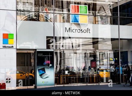 Microsoft store on Fifth Avenue in New York City. - Stock Photo