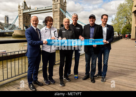 London, UK. 23rd April, 2018. the VMLM officials at Winners presentation after the 2018 Virgin Money London Marathon on Monday, 23 April 2018. London, England. Credit: Taka Wu/Alamy Live News - Stock Photo