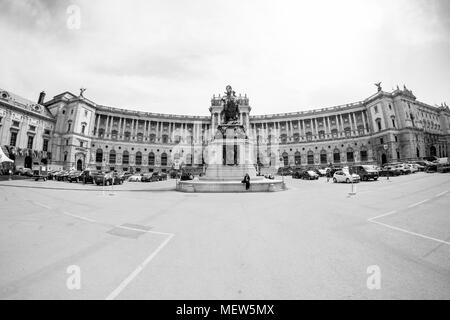View of Hofburg (Neue Burg wing) at the imperial palace of the Habsburgs,from Heldenplatz Heros square Vienna, Austria, Europe. - Stock Photo