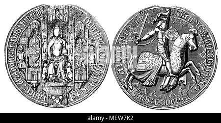 The Great Seal of Henry IV (1367 -1413), also known as Henry Bolingbroke,  King of England and Lord of Ireland from 1399 to 1413, and asserted the claim of his grandfather, Edward III, to the Kingdom of France. - Stock Photo
