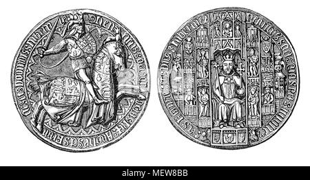 The Great Seal of King Henry V (1386 – 1422),  the second English monarch of the House of Lancaster.  Henry embarked on war with France in 1415 and his military successes culminated in his famous victory at the Battle of Agincourt (1415) and saw him come close to conquering France. - Stock Photo