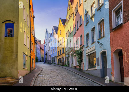 Traditional colorful gothic houses on a narrow street in the Old Town of Landsberg am Lech near Munich, Bavaria, Germany - Stock Photo