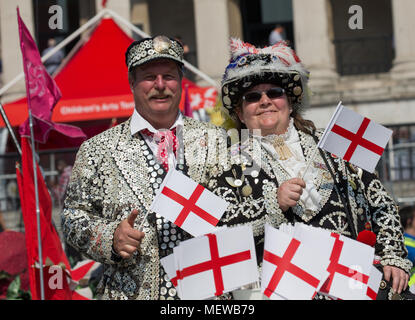 Pearly Kings and Queens in Trafalgar Square for the Feast of St George to celebrate St George's Day, the Patron Saint of England which is on April 23r. - Stock Photo