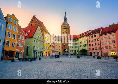 Traditional colorful houses in Landsberg am Lech historical gothic Old Town, Bavaria, Germany, in sunset light - Stock Photo