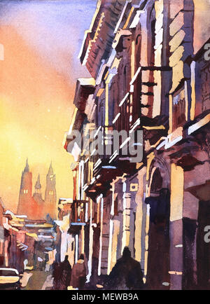 Watercolor painting of Basilica at sunset in city of Quito, Ecuador.  Watercolor Quito skyline fine art painting watercolor giclee print