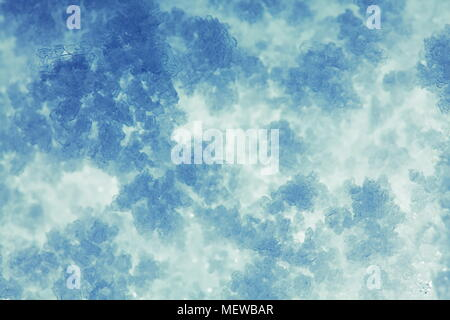 Close up of frost crystals growing on snow - Stock Photo