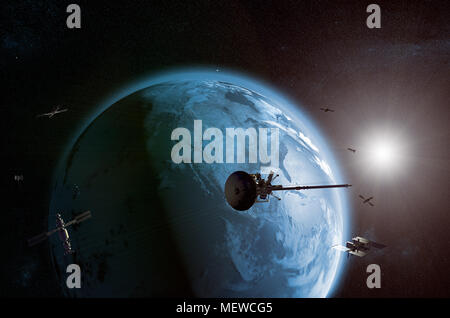 3D rendering of a satellites network orbiting planet earth - Stock Photo