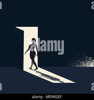 A women walking through a open door representing choices and new pathways. Conceptual business vector illustration - Stock Photo