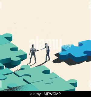Final Piece Of The Puzzle. Two Businessmen about to shake hands over trading a jigsaw puzzle piece needed for the solution. Conceptual vector - Stock Photo