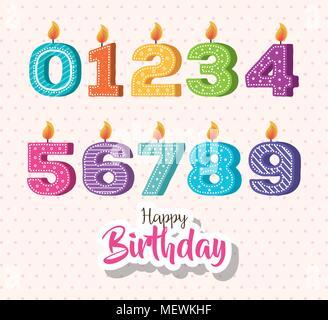 happy birthday candles set icons - Stock Photo