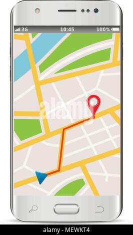 Smart phone with wireless navigator service internet app on screen isolated on white background. Vector illustration. - Stock Photo