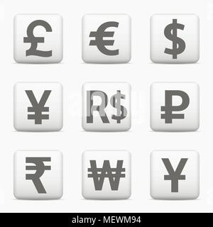 Currency icons set. World money symbols. Web buttons. Vector EPS10 - Stock Photo
