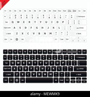 Vector illustration of modern laptop keyboards. White and black laptop computer wireless keyboards top view with keys. - Stock Photo