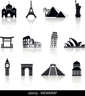 World sights icons. World famous buildings abstract silhouettes. Vector icons with reflection. - Stock Photo