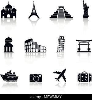 Travel and landmarks icons with reflection. Vector illustration. - Stock Photo
