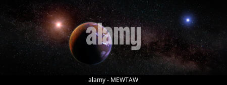 beautiful exoplanet, part of an alien binary star system with a red and blue star, science fiction scene (3d space illustration banner) - Stock Photo