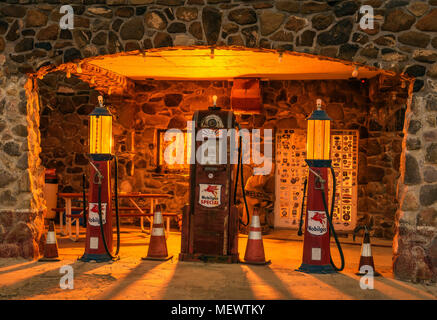 Restored Cool Springs gas station situated on Route 66 in Arizona - Stock Photo