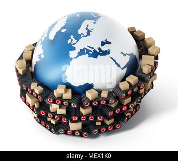 Conveyor belts transfering cardboard boxes around the earth. 3D illustration. - Stock Photo