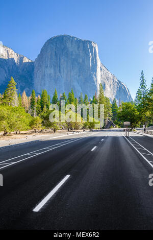 Famous El Capitan mountain peak with road running through Yosemite Valley in beautiful morning light at sunrise in summer, Yosemite National Park, USA - Stock Photo