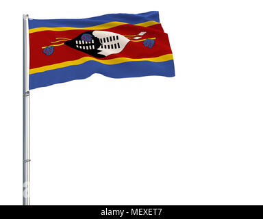 Isolate flag of Kingdom of eSwatini - Swaziland on a flagpole fluttering in the wind on a white background, 3d rendering - Stock Photo