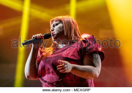 Beth Ditto performing live at the first edition of MUSILAC Mont-Blanc music festival in Chamonix (France) - 21 April 2018 - Stock Photo