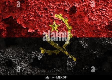 Old Angola grunge background flag - Stock Photo