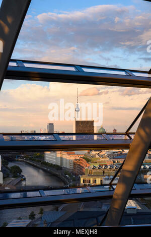 Berlin. Germany. View looking east of the Berlin skyline from the Reichstag dome towards the Fernsehturm (TV tower) on Alexanderplatz, Mitte. The view - Stock Photo