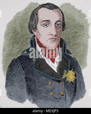 Louis Antoine de Bourbon, Duke of Enghien (1772-1804). Portrait. Engraving, 19th century. - Stock Photo