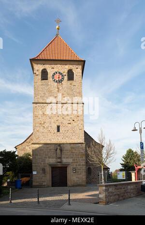 Protestant historical church St. Jacobus in Weisenheim am Berg, Rheinland-Pfalz, Germany, Europe - Stock Photo