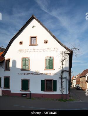Historical house in Weisenheim am Berg, Rheinland-Pfalz, Germany, Europe - Stock Photo