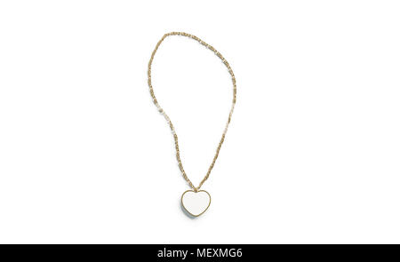 Blank white golden pendant heart mockup isolated, side view