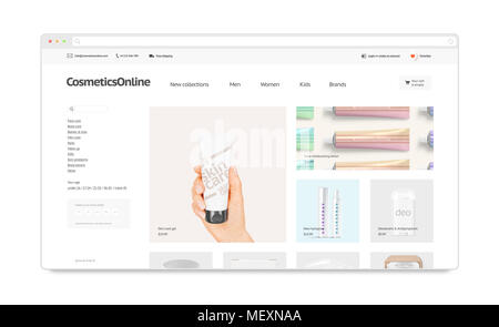 Cosmetics Webstore Site Template Mock Up Isolated 3d Illustration Makeup Web Page Interface Mockup