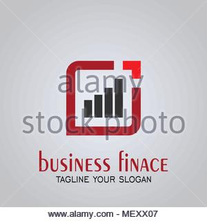 Business Finance logo, square with diagram, vector icons. - Stock Photo