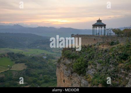 Mirador de Ronda at sunset with view over the mountains of Sierra de Grazalema, Ronda, Andalucia, Spain, Europe