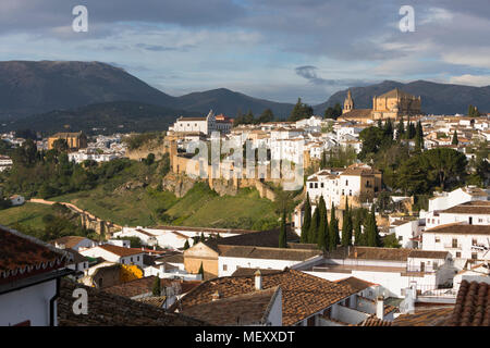 View over the old white town and the Iglesia de Santa Maria la Mayor, Ronda, Andalucia, Spain, Europe - Stock Photo