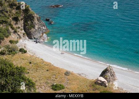 View over Cala del Pino near Nerja, Malaga Province, Costa del Sol, Andalucia, Spain, Europe - Stock Photo