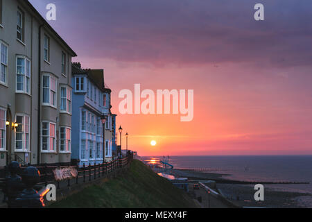 Beautiful evening and colourful sunset in Cromer, North Norfolk, UNited Kingdom - Stock Photo
